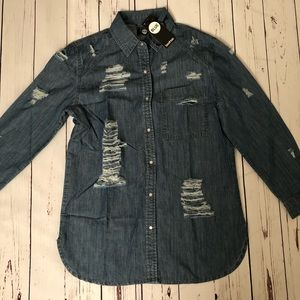 NWT Boohoo Oversized Ultra Distressed Denim Shirt